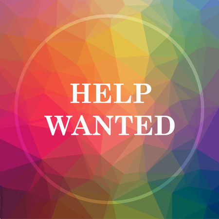 now hiring: Help wanted icon. Help wanted website button on low poly background.