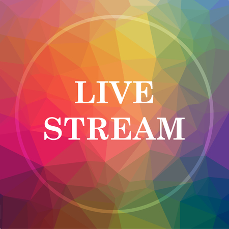 livestream: Live stream icon. Live stream website button on low poly background. Stock Photo