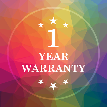 1 year warranty: 1 year warranty icon. 1 year warranty website button on low poly background.