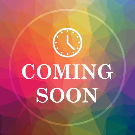 Coming soon icon. Coming soon website button on low poly background. Stock Photo
