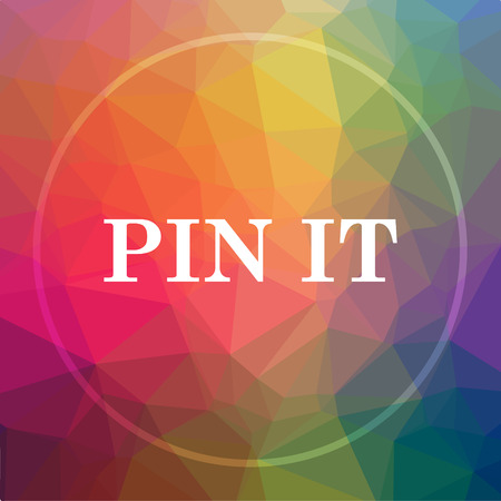 Pin it icon. Pin it website button on low poly background.