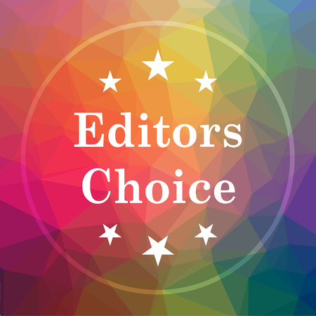 Editors choice icon. Editors choice website button on low poly background. Stock Photo