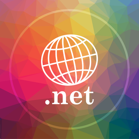 .net icon. .net website button on low poly background.