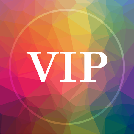 members only: VIP icon. VIP website button on low poly background. Stock Photo