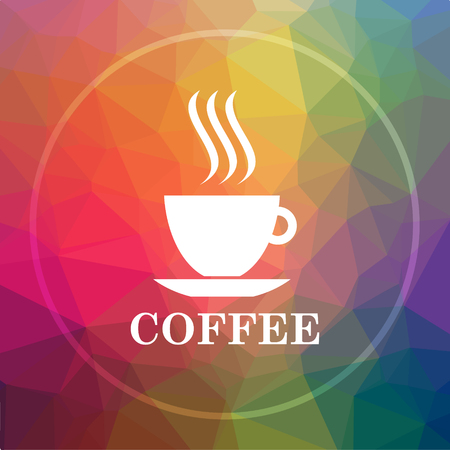 Coffee cup icon. Coffee cup website button on low poly background.