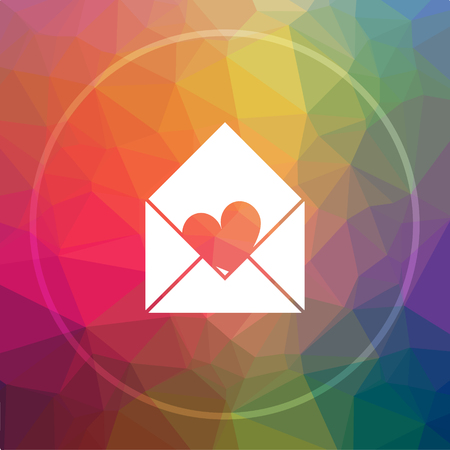 Send love icon. Send love website button on low poly background.