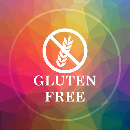 inspected: Gluten free icon. Gluten free website button on low poly background.