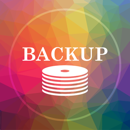 data archiving: Back-up icon. Back-up website button on low poly background. Stock Photo