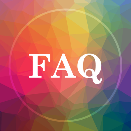 FAQ icon. FAQ website button on low poly background.