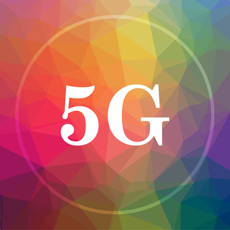 3g: 5G icon. 5G website button on low poly background. Stock Photo