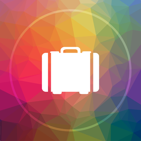 valise: Suitcase icon. Suitcase website button on low poly background. Stock Photo