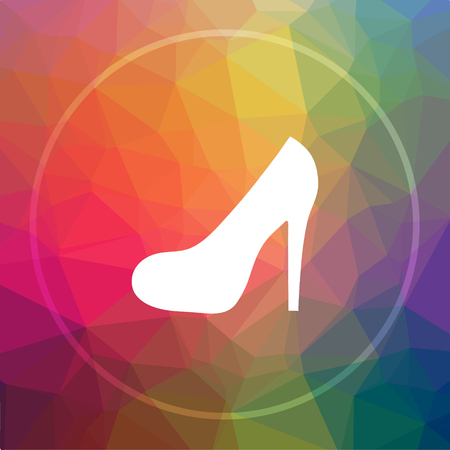High Heel Icon Website Button On Low Poly Background Photo