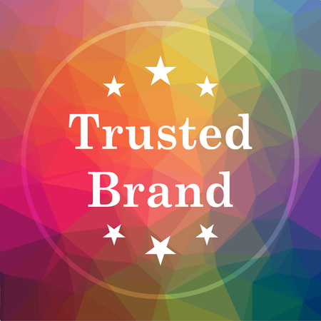 trusted: Trusted brand icon. Trusted brand website button on low poly background.