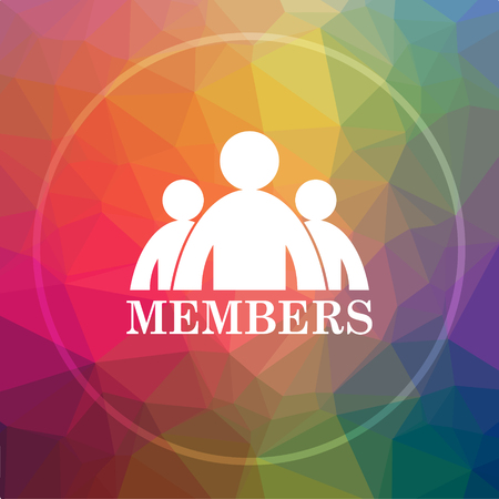 Members icon. Members website button on low poly background. Stock Photo
