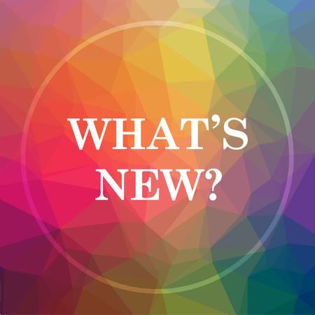 Was ist neues Symbol. Was ist neuer Websiteknopf auf niedrigem Polyhintergrund. Standard-Bild - 78786257
