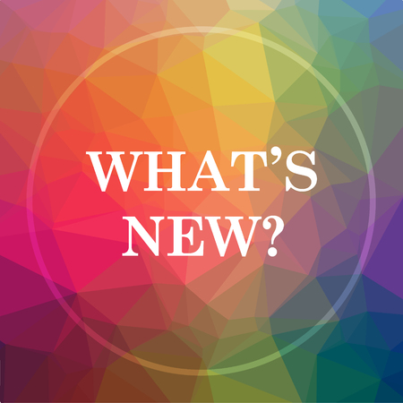 Wat is nieuw icoon? Wat is de nieuwe website knop op een lage poly achtergrond.