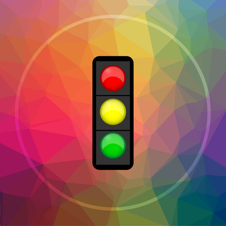 Traffic light icon. Traffic light website button on low poly background. Stock Photo