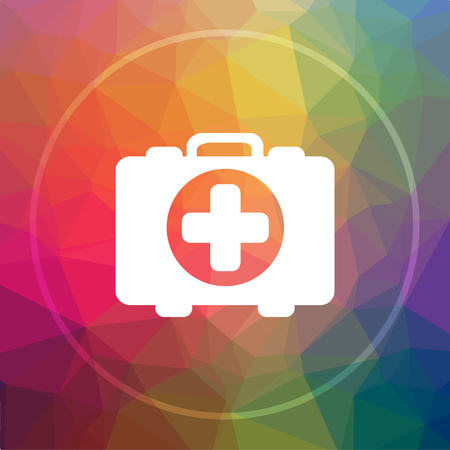 Medical bag icon. Medical bag website button on low poly background.