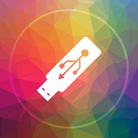 Usb flash drive icon. Usb flash drive website button on low poly background.