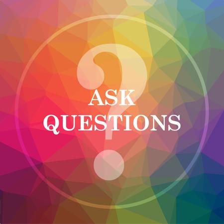 質問アイコンをお願いします。低ポリ背景のウェブサイトのボタンを質問を頼みなさい。