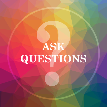 control de calidad: Ask questions icon. Ask questions website button on low poly background. Foto de archivo