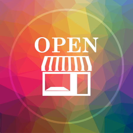 Open store icon. Open store website button on low poly background. Stock Photo