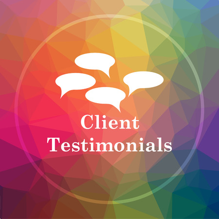 Client testimonials icon. Client testimonials website button on low poly background.