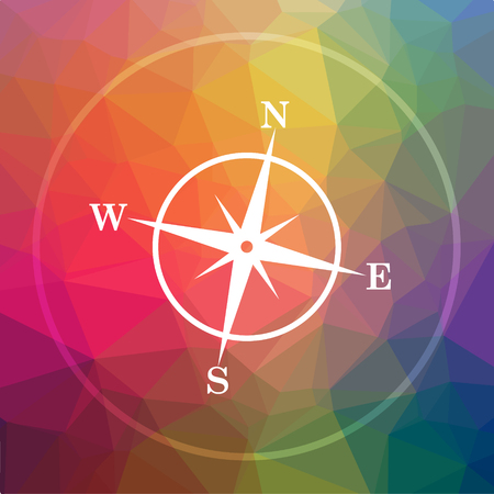 geodesy: Compass icon. Compass website button on low poly background.