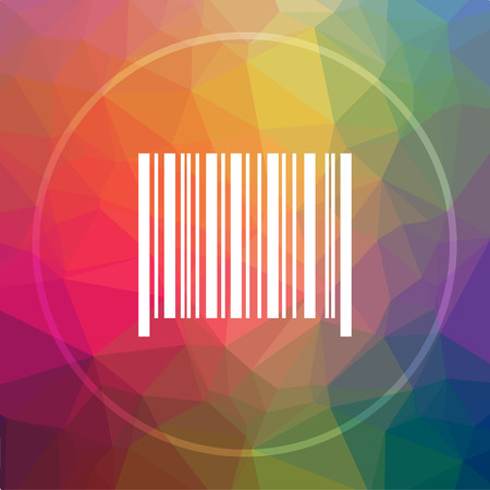 codigos de barra: Barcode icon. Barcode website button on low poly background. Foto de archivo