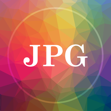 JPG icon. JPG website button on low poly background. Stock Photo
