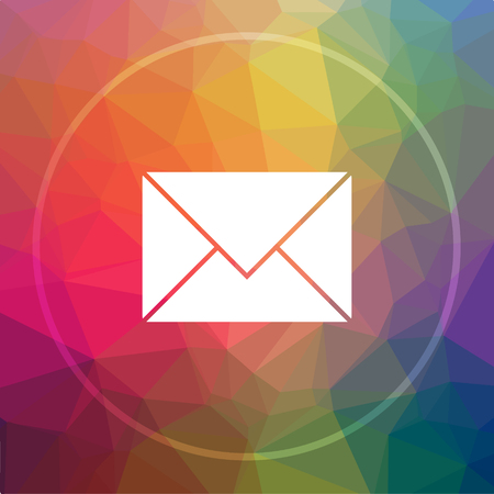 E-mail icon. E-mail website button on low poly background.