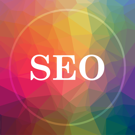 SEO icon. SEO website button on low poly background. Stock Photo