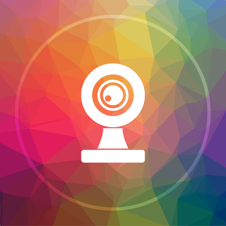 Webcam icon. Webcam website button on low poly background.