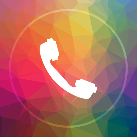 receiver: Phone icon. Phone website button on low poly background. Stock Photo