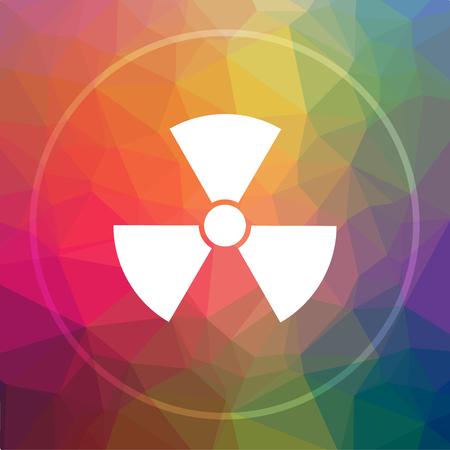 nuke: Radiation icon. Radiation website button on low poly background. Stock Photo