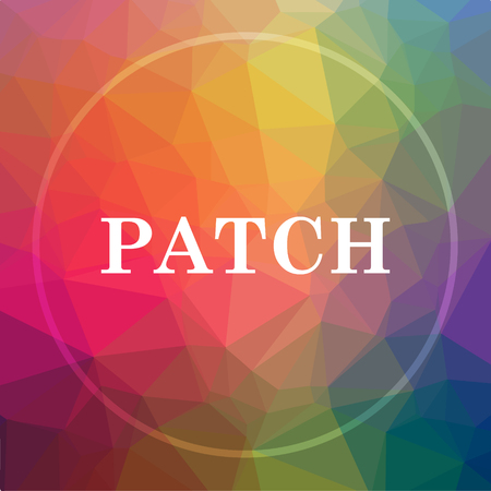 Patch icon. Patch website button on low poly background.