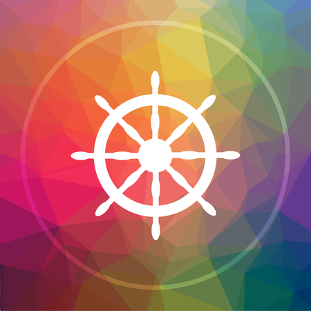 Nautical wheel icon. Nautical wheel website button on low poly background.