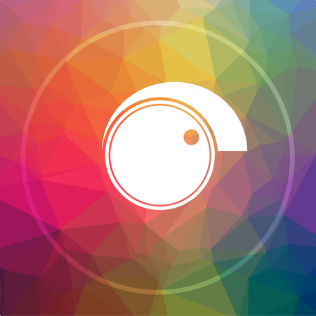 volume knob: Volume control icon. Volume control website button on low poly background.