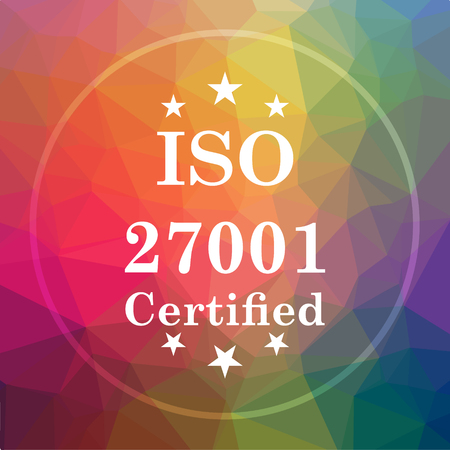 ISO 27001 icon. ISO 27001 website button on low poly background.