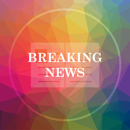 Breaking news icon. Breaking news website button on low poly background. Stock Photo