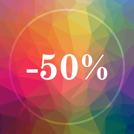 percentage: 50 percent discount icon. 50 percent discount website button on low poly background. Stock Photo