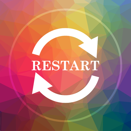 Restart icon. Restart website button on low poly background. Stock Photo