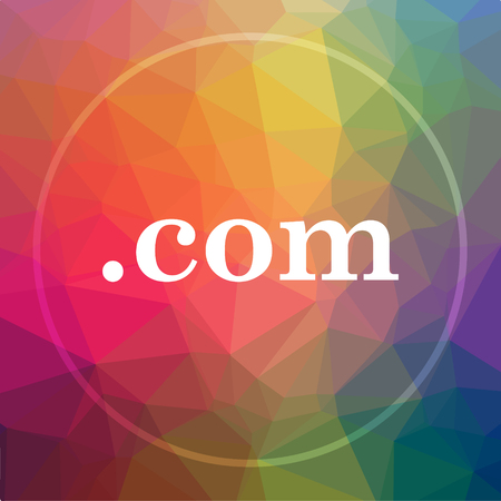 commercially: .com icon. website button on low poly background. Stock Photo