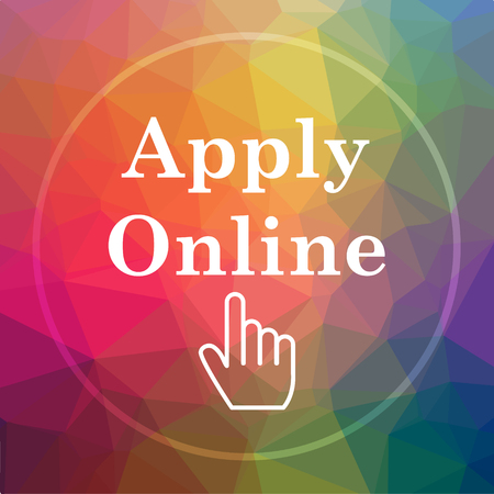 Apply online icon. Apply online website button on low poly background.