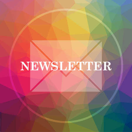 Newsletter icon. Newsletter website button on low poly background. Stock Photo
