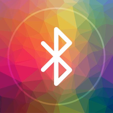 Bluetooth アイコン。低ポリ背景に Bluetooth のウェブサイト ボタン。
