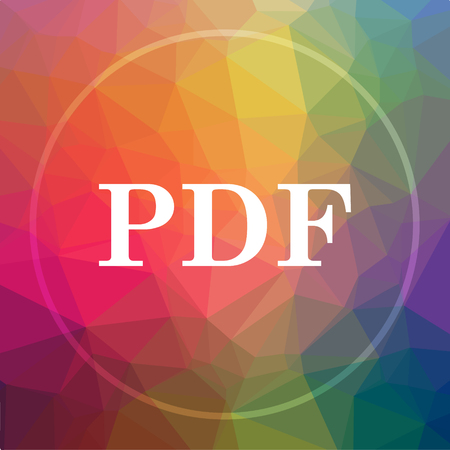 PDF icon. PDF website button on low poly background.