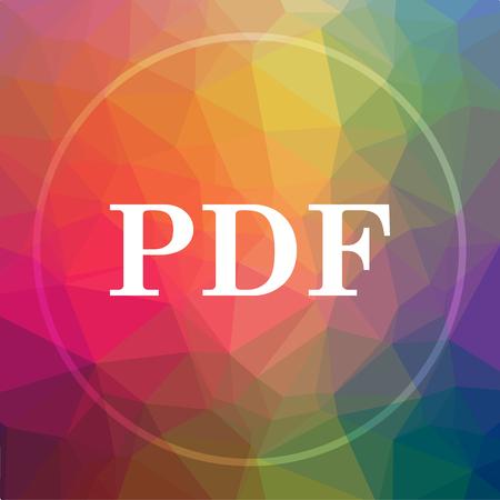 documentation: PDF icon. PDF website button on low poly background.