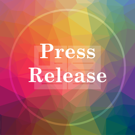 Press release icon. Press release website button on low poly background. Stock Photo