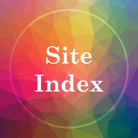 Site index icon. Site index website button on low poly background.